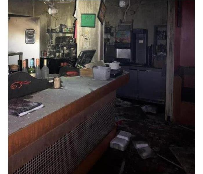 Before gutting restaurant after fire damage