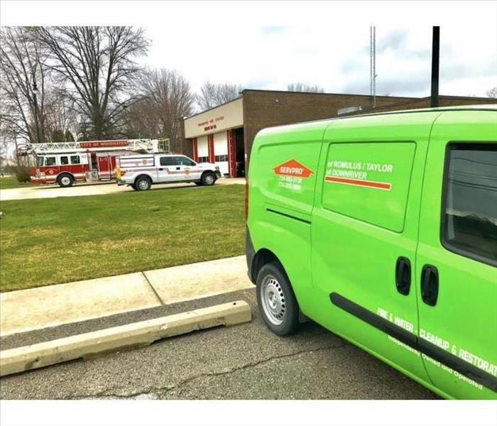 SERVPRO van outside local fire department