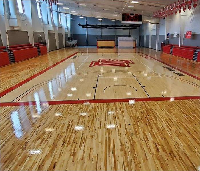 Gym floor after being completely replaced