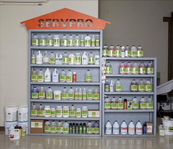 Shelf filled with SERVPRO cleaing products