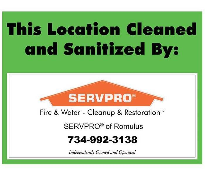 SERVPRO disinfectant sign to display in businesses