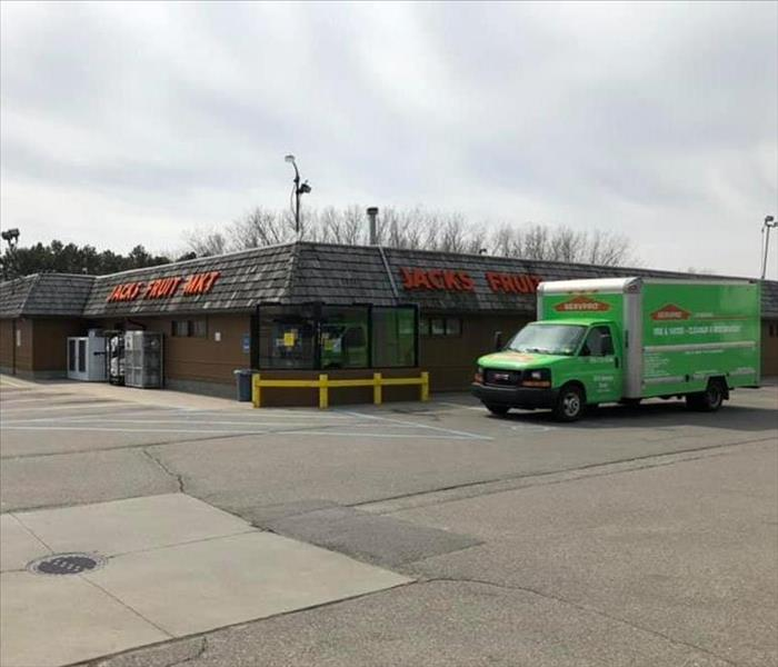 SERVPRO box truck outside of local grocery store