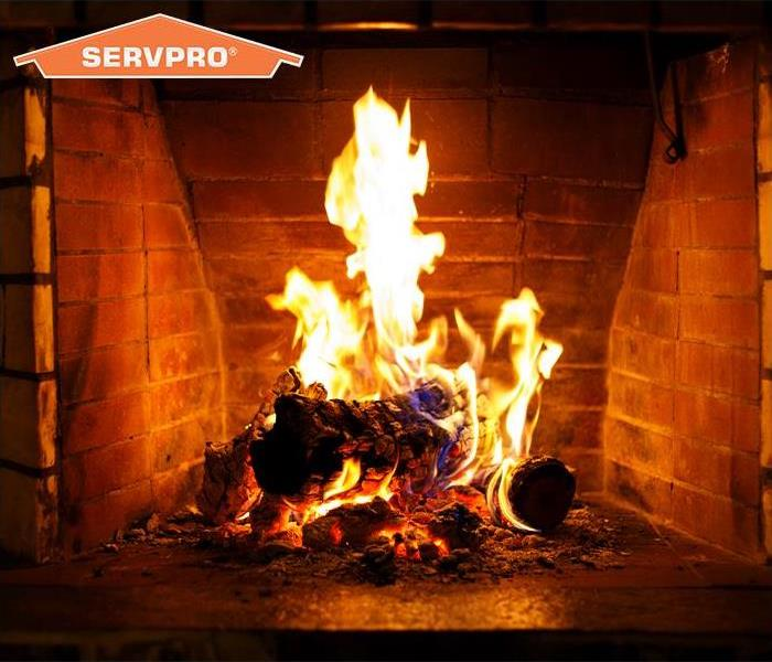 Fireplace with SERVPRO logo