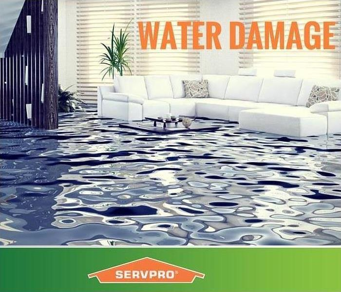 Flooded living room with SERVPRO logo
