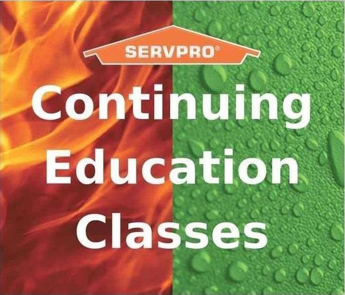 Continuing Education classes on fire and water background