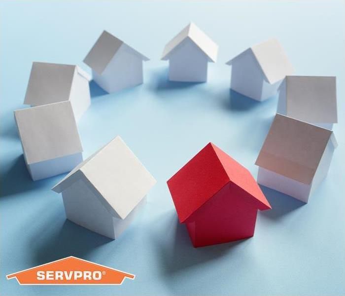 Circle of homes with SERVPRO logo