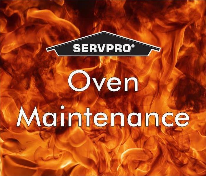 "Fire flame with ""Oven Maintenance"" and SERVPRO logo"
